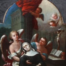 Arte: ESCUELA ESPAÑOLA DEL SIGLO XVIII. OLEO SOBRE TELA. SANTA RITA DE CASSIA. Lote 151766014