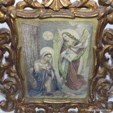 Arte: LITOGRAFÍA RELIGIOSA EN ANTIGUO MARCO DE MADERA CORNUCOPIA.. Lote 151907602