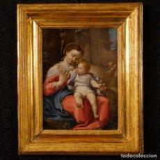 Arte: ANTIGUA PINTURA RELIGIOSA ITALIANA MADONNA DE LA CESTA DEL SIGLO XVII. Lote 152002458