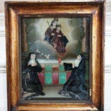 Arte: MAGNIFICA PINTURA RELIGIOSA SOBRE CRISTAL SOPLADO,S.XVIII. Lote 152029934