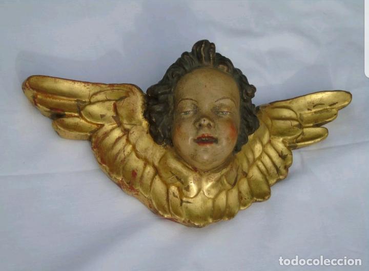 MUY BONITO ANGEL,QUERUBIN EN TERRACOTA POLICROMADA,CON CUÑO,S. XIX-XX (Arte - Arte Religioso - Escultura)