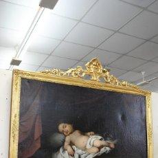 Arte: ÓLEO SOBRE LIENZO NIÑO JESÚS DURMIENDO SOBRE LA CRUZ. Lote 152175286