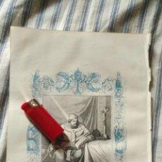 Arte: ANTIGUO GRABADO RELIGIOSO ORIGINAL IMPRESO EN 1851 - ARZOBISPO DE SEVILLA SAN LEANDRO. Lote 152209298