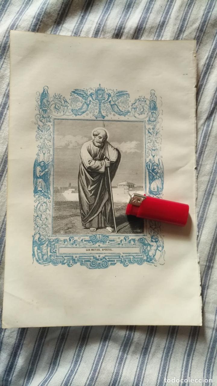 ANTIGUO GRABADO RELIGIOSO ORIGINAL IMPRESO EN 1851 - APOSTOL SAN MATIAS (Arte - Arte Religioso - Grabados)