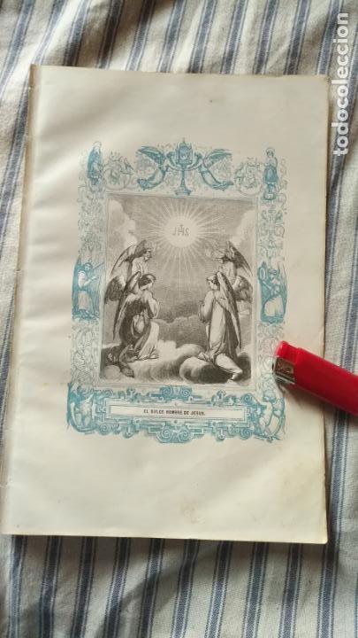 ANTIGUO GRABADO RELIGIOSO ORIGINAL IMPRESO EN 1851 - JHS ANGELES EL DULCE NOMBRE DE JESUS (Arte - Arte Religioso - Grabados)