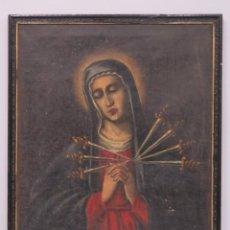 Arte: VIRGEN DOLOROSA CON LOS SIETE PUÑALES ANTE LA CRUZ Y CLAVOS DE CRISTO. OLEO S/ LIENZO. SIGLO XVIII. Lote 152214670