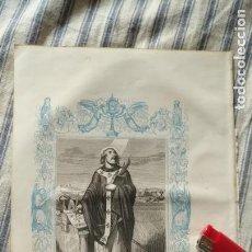Arte: ANTIGUO GRABADO RELIGIOSO ORIGINAL IMPRESO EN 1851 - OBISPO SAN ISIDORO. Lote 152215146
