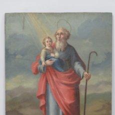 Arte: PRECIOSO SAN JOAQUIN CON LA VIRGEN NIÑA. OLEO S/ TABLA. SIGLO XVIII. Lote 152218254