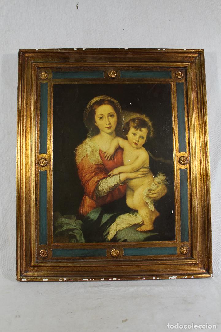 VIRGEN CON NIÑO - LAMINA MADERA (Arte - Arte Religioso - Pintura Religiosa - Otros)