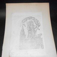 Arte: SIGLO XIX GRABADO XILOGRAFICO DOBLE SANTA BARBARA Y VIRGEN DE LA MERCED - RELIGION. Lote 152343478