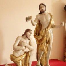 Arte: EL BAUTISMO DE JESÚS POR SAN JUAN BAUTISTA. ESCULTURA EN MADERA TALLADA. 54 CM. S. XVIII.. Lote 152365966
