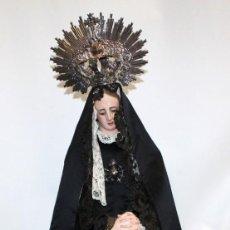 Arte: PRECIOSA VIRGEN DOLOROSA DE LAS DENOMINADAS CAP Y POTA DE VESTIR DEL SIGLO XIX. Lote 152426446
