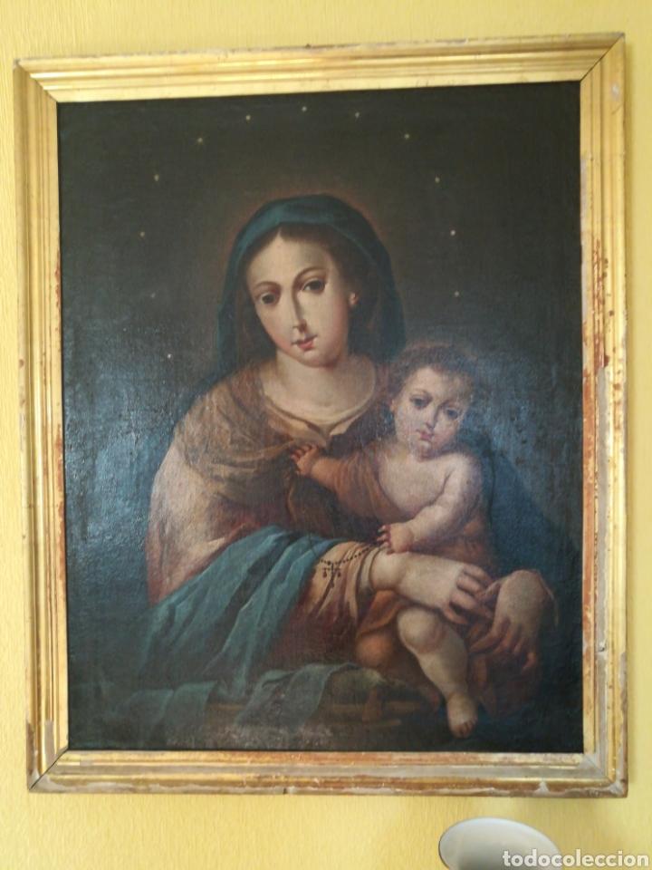 Arte: Virgen de Rosario con niño, siglo XVIII. - Foto 6 - 129006199