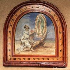 Arte: APARICIÓN DE LA VÍRGEN DE GUADALUPE AL INDIO JUAN DIEGO POR JOSEPH RUBIO Y SAYE. Lote 152512394