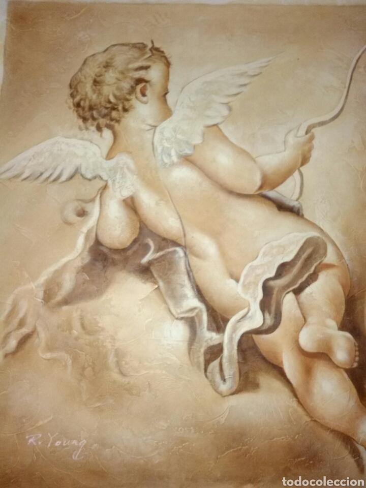 ÓLEO.PRECIOSO QUERUBÍN ÁNGEL.PINTURA SOBRE LIENZO. (Arte - Arte Religioso - Pintura Religiosa - Oleo)