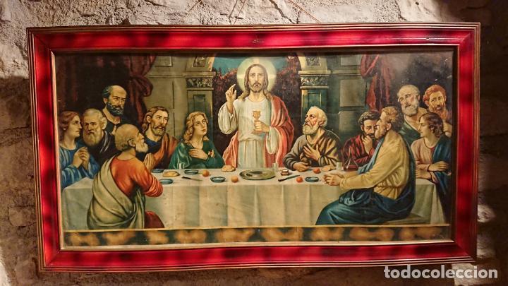ANTIGUO CUADRO CON LÁMINA DE LA SANTA CENA DE JESÚS DE LOS AÑOS AÑOS 30-40 (Arte - Arte Religioso - Pintura Religiosa - Otros)