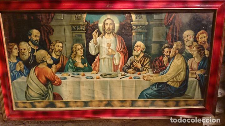 Arte: Antiguo cuadro con lámina de la santa cena de Jesús de los años años 30-40 - Foto 4 - 152838258