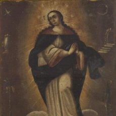 Arte: INMACULADA. SIGLO XVIII. ESCUELA ESPAÑOLA. ÓLEO SOBRE LIENZO. 87X65,4.. Lote 152842322