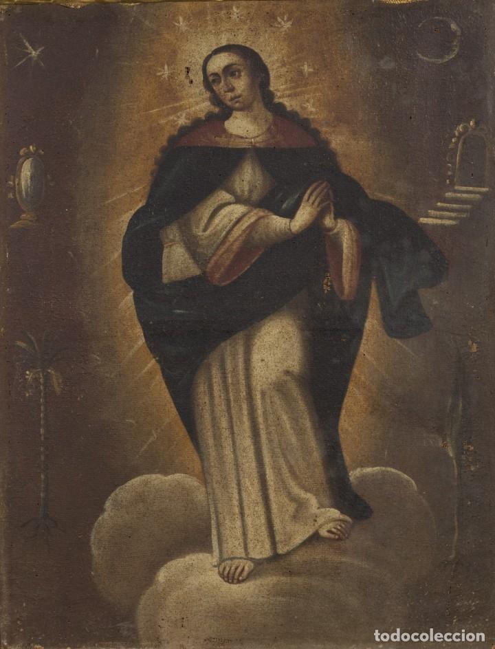 Arte: INMACULADA. SIGLO XVIII. ESCUELA ESPAÑOLA. ÓLEO SOBRE LIENZO. 87x65,4. - Foto 12 - 152842322