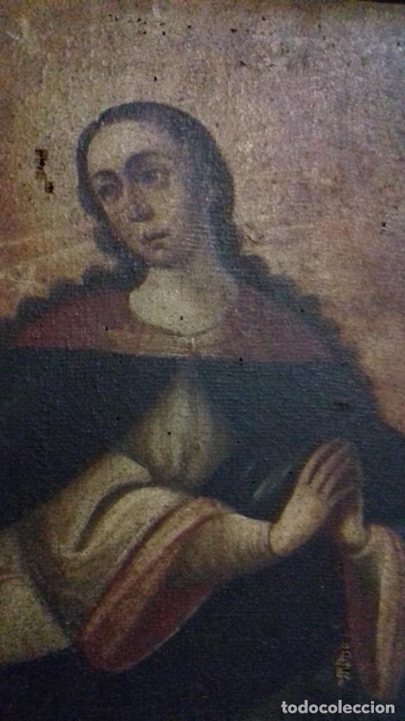 Arte: INMACULADA. SIGLO XVIII. ESCUELA ESPAÑOLA. ÓLEO SOBRE LIENZO. 87x65,4. - Foto 4 - 152842322