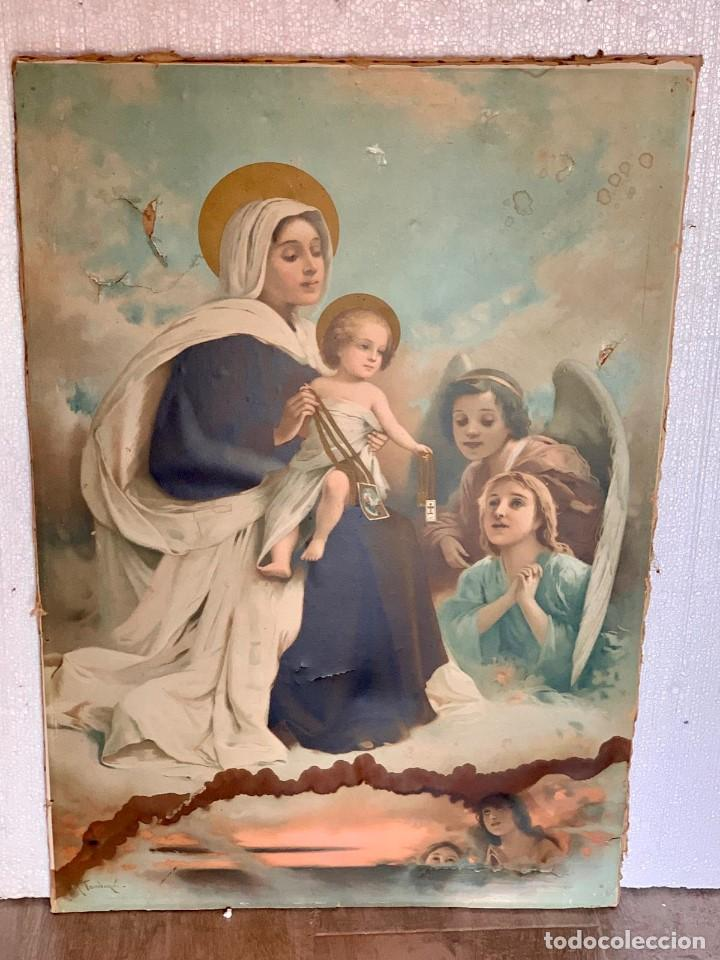 LAMINA SOBRE LIENZO VIRGEN (Arte - Arte Religioso - Pintura Religiosa - Otros)