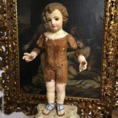 Arte: TALLA DE MADERA DEL NIÑO JESÚS CAP I POTA 62CM. Lote 153627474