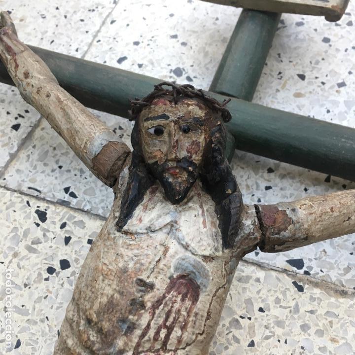 Arte: Cristo en la cruz o crucificado, talla de madera policromada - Foto 4 - 153118974