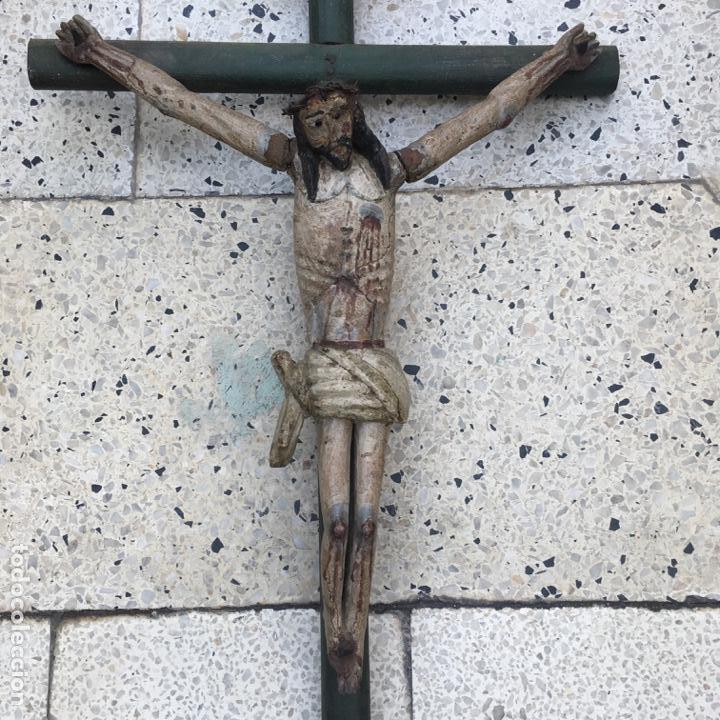 Arte: Cristo en la cruz o crucificado, talla de madera policromada - Foto 17 - 153118974