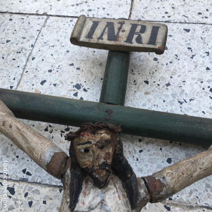 Arte: Cristo en la cruz o crucificado, talla de madera policromada - Foto 20 - 153118974