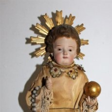 Arte: NIÑO JESÚS ISABELINO EN MADERA TALLADA Y POLICROMADA CAP Y POTA DEL SIGLO XIX. Lote 153166502
