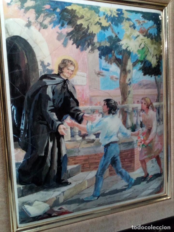 CUADRO DE METAL CON MARCO EN METAL NEGRO (SAN JUAN BOSCO) AÑOS 80 (Arte - Arte Religioso - Pintura Religiosa - Otros)
