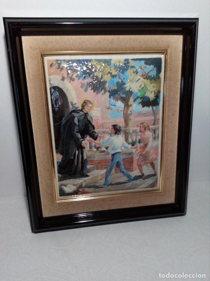 Arte: CUADRO DE METAL CON MARCO EN METAL NEGRO (SAN JUAN BOSCO) AÑOS 80 - Foto 2 - 153231834