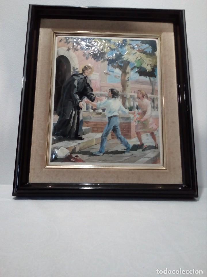Arte: CUADRO DE METAL CON MARCO EN METAL NEGRO (SAN JUAN BOSCO) AÑOS 80 - Foto 6 - 153231834