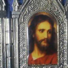 Art: TRÍPTICO METAL CON LA CARA DE JESUCRISTO. Lote 153258113