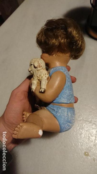 Arte: Antiguo niño Jesús o Sant Juan de escayola con pelo de los años 80-70 - Foto 3 - 153269698