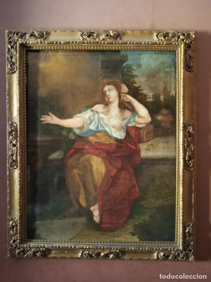 EXTRAORDINARIO OLEO SOBRE LIENZO - ARREPENTIMIENTO DE MARÍA MAGDALENA - FIRMADO - SIGLO XVII (Arte - Arte Religioso - Pintura Religiosa - Oleo)