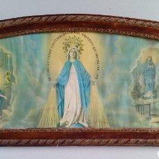 Arte: ANTIGUO CUADRO RELIGIOSO DE PUEBLO CON MARCO SEMI OVALADO.. Lote 153368180