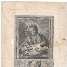 Arte: GRABADO DE LA VIRGEN MADRE DE LA DIVINA GRACIA, REALIZADO POR VICENTE CAPILLA SIGLO XIX VALENCIA. Lote 153425658