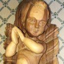 Arte: ANTIGUA TALLA TODA DE MADERA DE OLIVO CUNA CON NIÑO JESUS. Lote 153439521