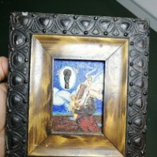 Arte: ANTIGUO CUADRO AL OLEO MINIATURA ADORACION VIRGEN DEL PILAR -PLATA DE LEY, SIGLO XIX SIN FIRMA. Lote 153492926