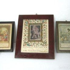 Arte: LOTE 3 ANTIGUOS Y BELLOS CUADROS RELIGIOSOS - C.1940 - MARCOS DE MADERA ORIGINALES. Lote 153500786