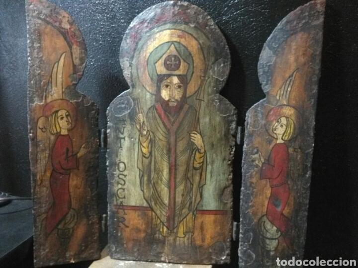 JOYA!! PIEZA MUSEO!! MUY ANTIGUO TRIPTICO SAN OSCAR (Arte - Arte Religioso - Trípticos)