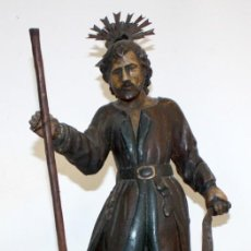 Arte - SENSACIONAL IMAGEN EN MADERA TALLADA Y POLICROMADA DE SAN ISIDRO LABRADOR DEL SIGLO XVIII - 153662942