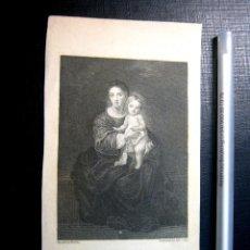 Arte: S.XIX BELLO GRABADO VIRGEN MARIA Y NIÑO JESUS - PINTADO POR MURILLO GRABADOR H R COOK. Lote 153728146