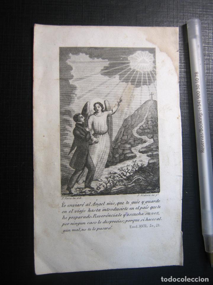 GRABADO RELIGIOSO 1850 - ANGEL DE LA GUARDA - DIBUJO F. ROCA GRABADOR P. ALABERN (Arte - Arte Religioso - Grabados)