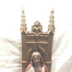 Arte: SAGRADO CORAZÓN DE JESÚS EN TRONO SELLO ARTE CRISTIANO OLOT AÑOS 50, ACABADOS PRIMERA. MED. 60 CM. Lote 194362510