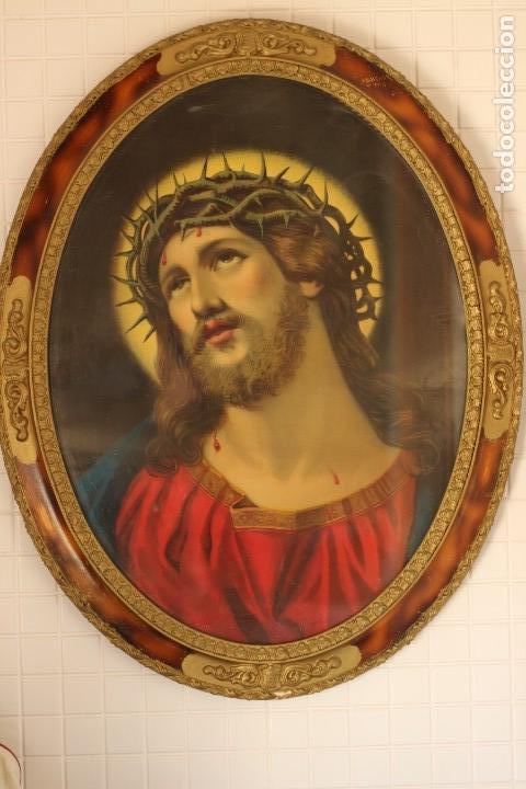 BELLO CUADRO CABECERO CRISTO DE CON CORONA DE ESPINAS ECCE HOMO 70 CM CROMOLITOGRAFIA 70 CM (Arte - Arte Religioso - Litografías)
