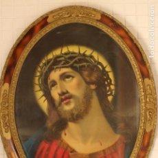 Arte: ANTIGUO GRAN CUADRO OVALADO LITOGRAFIA CRISTO CORONA DE ESPINAS ECCE HOMO 70 CM X 54 CM. Lote 137625544