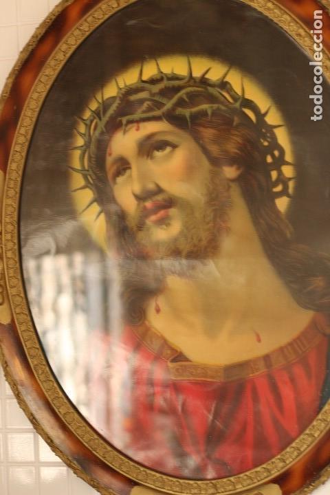 Arte: BELLO CUADRO CABECERO CRISTO DE CON CORONA DE ESPINAS Ecce Homo 70 cm CROMOLITOGRAFIA 70 CM - Foto 10 - 219327867