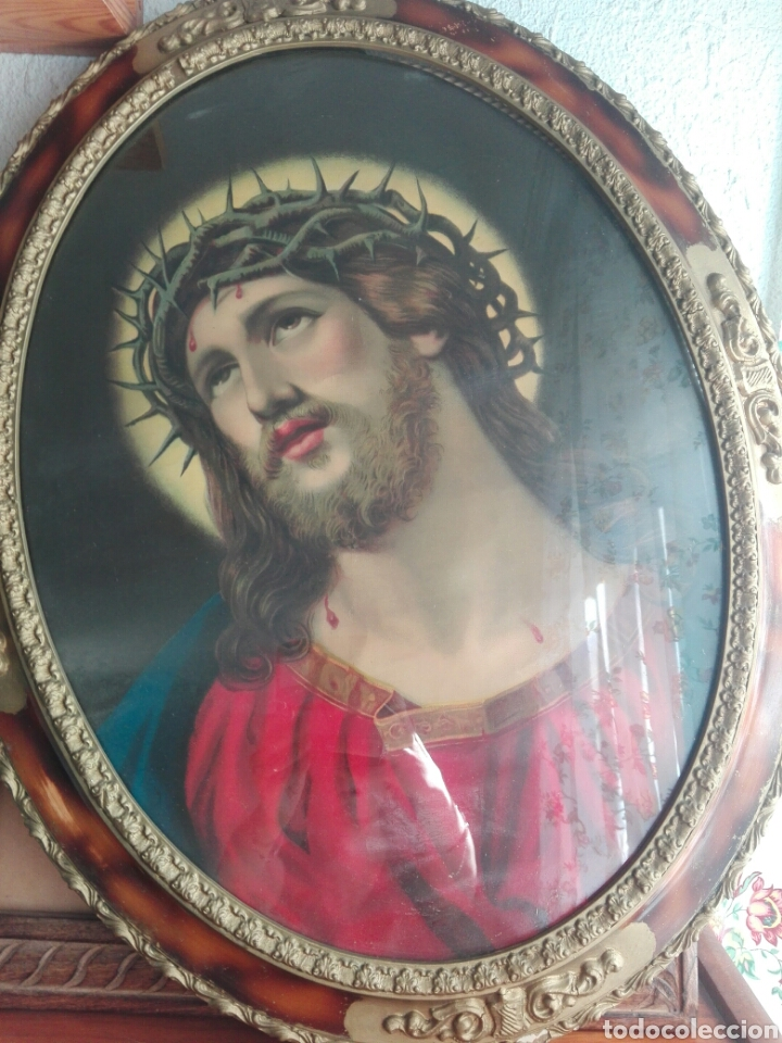 Arte: BELLO CUADRO CABECERO CRISTO DE CON CORONA DE ESPINAS Ecce Homo 70 cm CROMOLITOGRAFIA 70 CM - Foto 2 - 219327867